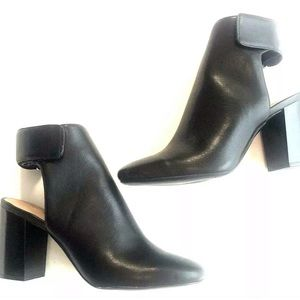 New H&M Black Closed Toe Heels Cut Out Open Back